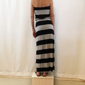GAP Strapless Maxi Dress Grey/White S